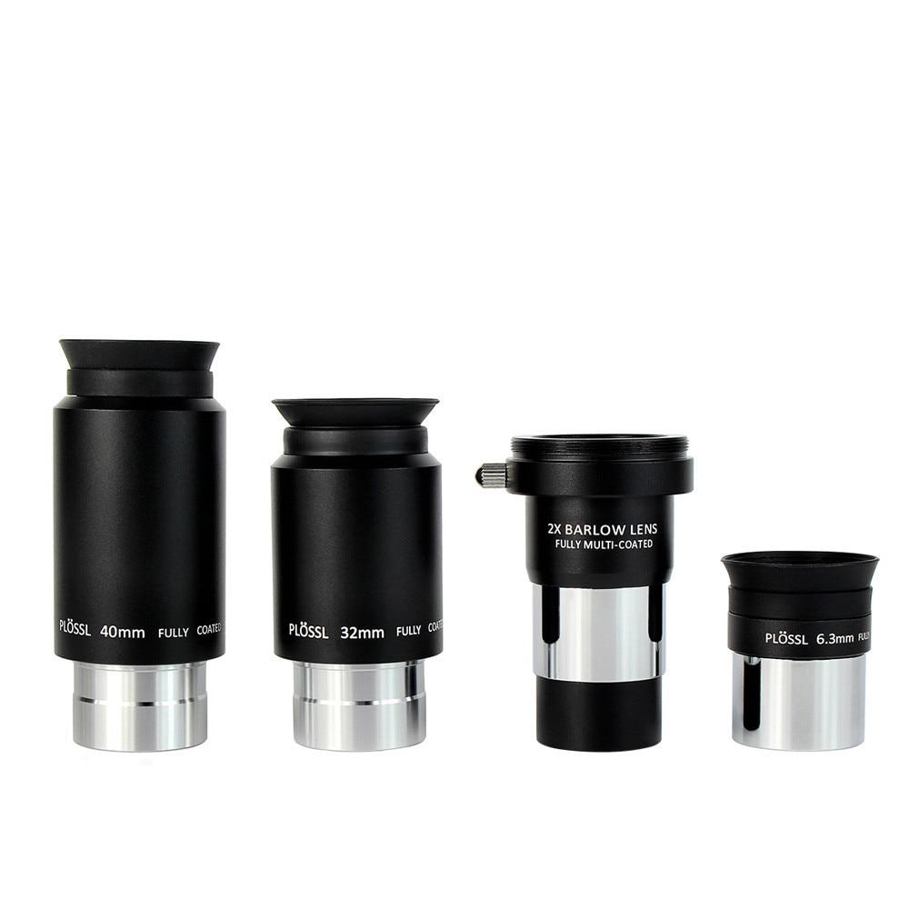LAIDA 1.25 Plossl Eyepiece 6.3mm+32mm+40mm+ 2x Barlow Lens Set 4-Element Plossl Design for Astronomy Telescope M0078 gso 1 25 3 element 2 5x barlow lens