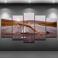 Modular Pictures Wall Art Poster Frame Home Decor For Living Room 5 Pieces Highway Swimmer Painting