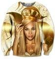 Реальный Размер США Золотой Beyonce 3D Сублимации печати Crewneck Кофты уличная плюс размер
