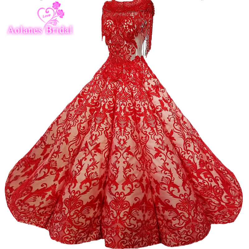 Vintage Wedding Dresses Red: AOLANES 2018 Red Lace Bridal Gowns Floor Length Lace Up