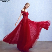 Robe De Soiree YIDINGZS Wine Red Elegant Lace Beads Evening Dresses Boat Neck Party Long Dress