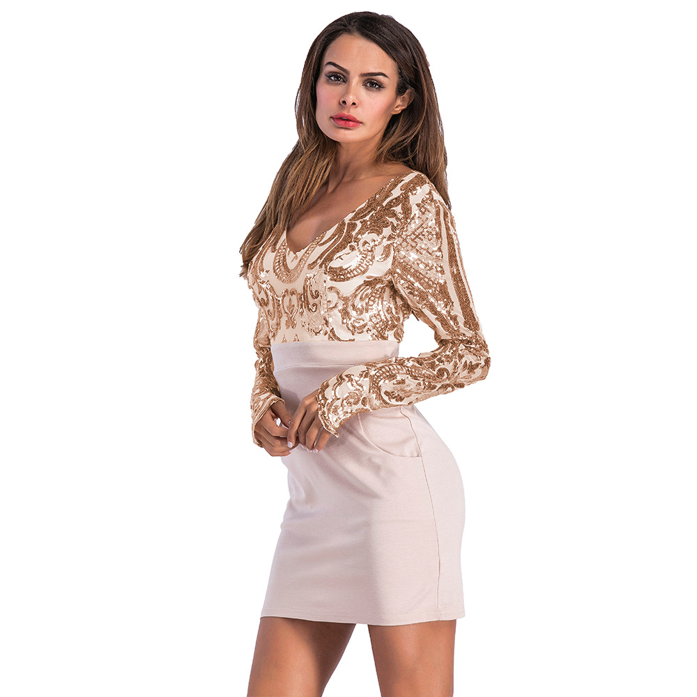 d3cf812c8c Summer Vintage Women Deep V-Neck Paisley Sequin Party Dress Long Sleeve  Empire Tunic Patchwork Slim Bodycon Club Dress Pockets
