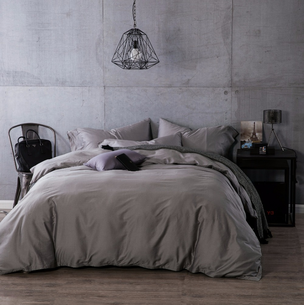 online get cheap grey egyptian cotton bedding aliexpresscom  - luxury egyptian cotton duvet cove flat sheet pillowcase pcs completebedding sets solid color grey queen