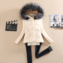 2016 winter down cotton padded jacket Women large fur collar hooded thickening wadded jacket parka winter