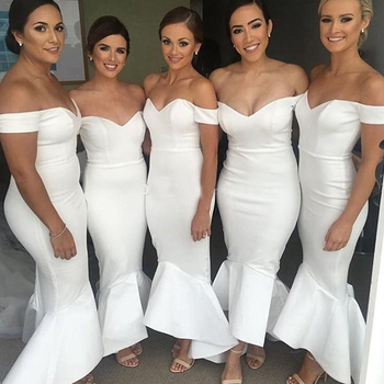 Long Bridesmaid Dresses 2018 Mermaid Short Sleeve Sweetheart Stretch Satin White Maid of the Honer Dresses Party Gowns
