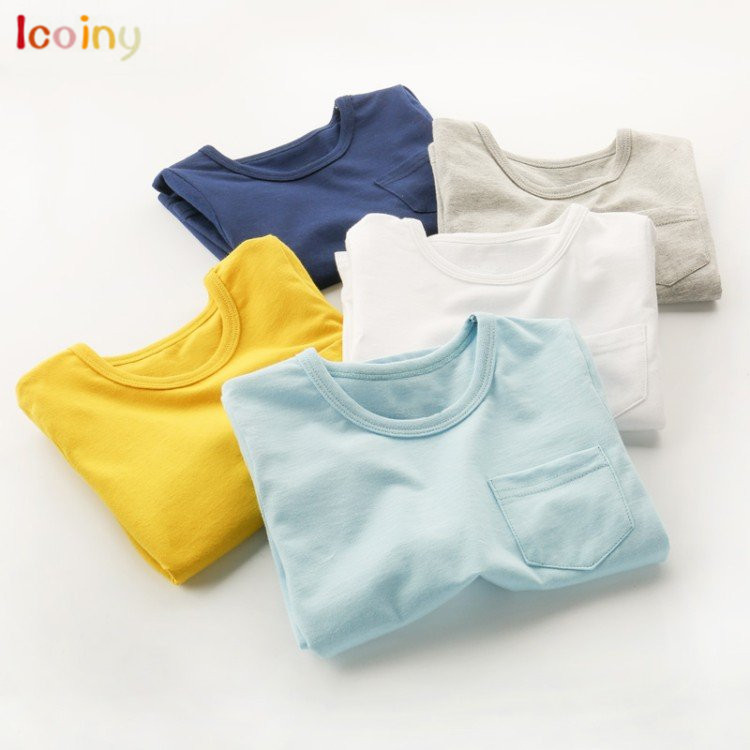 Icoiny Baby Boy Sweatshirt 2018 Brand Children Autumn Long Sleeve PocketsTops Boys Clothes Solid Kids T shirts for Boy