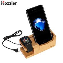 [Built-in 3-Port USB charger&Apple/Android Charger Cable] iCozzier Bamboo Charging Station with Apple Watch Stand