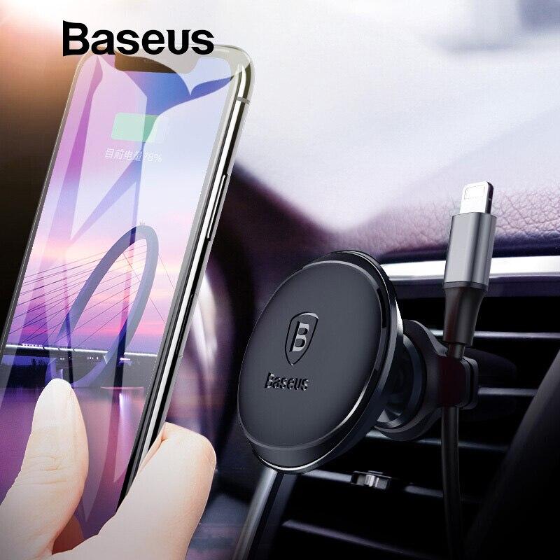 Baseus Magnetic Car Phone Holder para iPhone Samsung imán soporte del teléfono móvil soporte de montaje de ventilación de aire de coche y Cable organizador