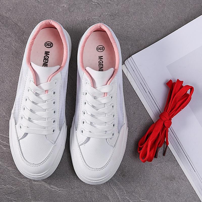 Maillage Femmes Été Blanches Net 2018 Femmes Pu Respirant De Chaussures Ciel blanc Casual Rouge Mode Plat Nouveau rose Oqqnd7E