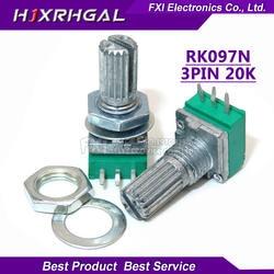 5 шт. RK097N 20 К один связан потенциометра B20K с коммутатором аудио 3pin вала 15 мм усилитель потенциометра уплотнение