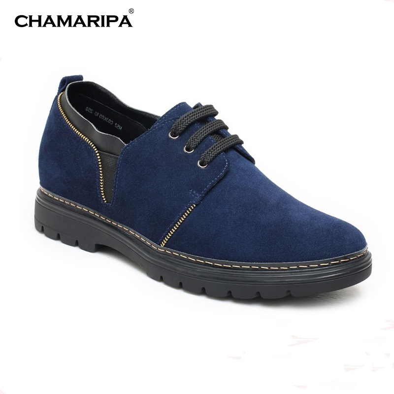 CHAMARIPA Increase Height 7cm/2.76 inch Taller Elevator Shoes Mens Casual Blue Shoes  chamaripa increase height 7cm 2 76 inch taller elevator shoes black mens leather summer sandals height increasing shoes