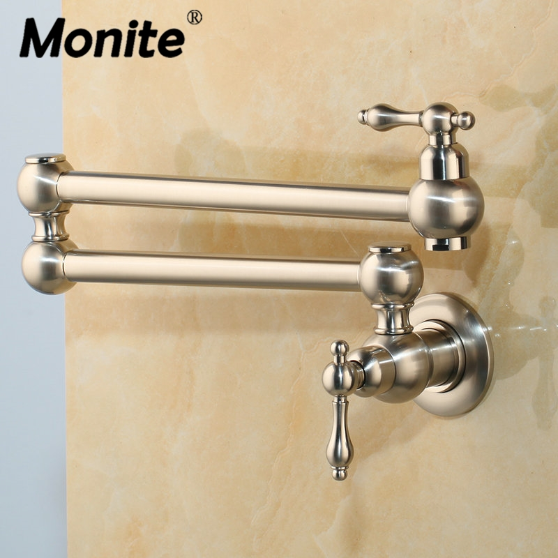 Nickel Brushed Rotated kitchen Basin Sink Mixer Tap Faucet Solid Brass Basin Sink Black Swivel Wall