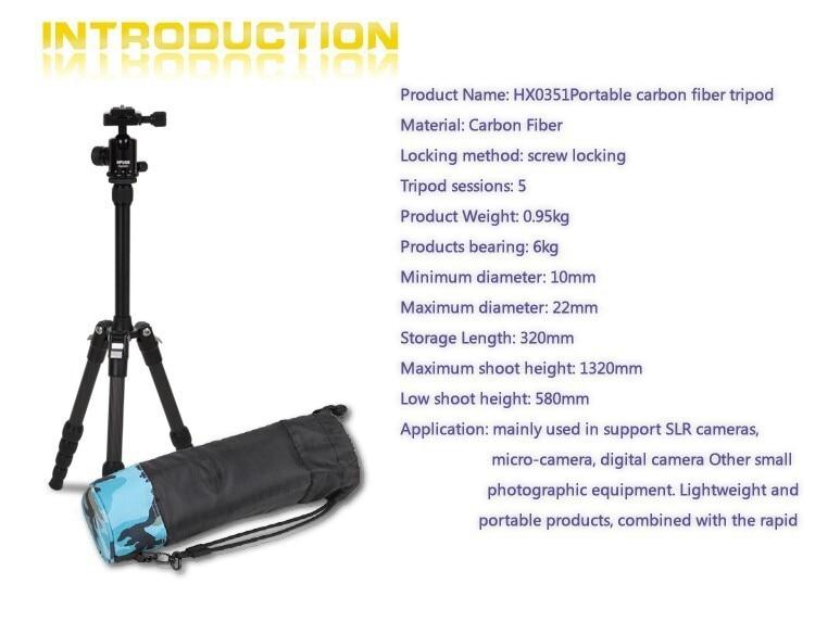 Hpusn carbon fiber font b tripod b font kit dslr font b camera b font stand