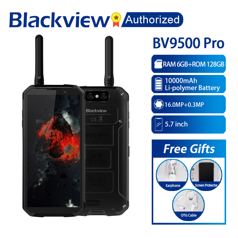 "Blackview BV9500 Pro Waterproof Walkie Talkie Smartphone 6GB RAM 128GB ROM Octa Core 5.7"" FHD 18:9 10000mAh Battery Mobile Phone"