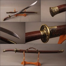 Details about Rosewood Saya Chinese Qing Dynasty Type Vintage Sword Folded Steel 19cm Handle Length Knife