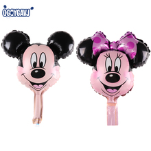 QGQYGAVJ Mini Mickey Minnie Mouse cabeça brinquedos balões folha de balões de hélio decorações Da Festa de Aniversário Vermelho