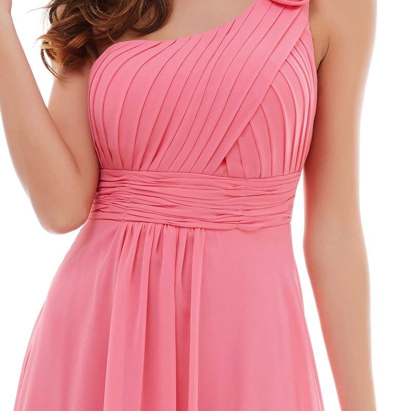 Tanpell blomma en axel klänning fest vattenmelon golv längd - Särskilda tillfällen klänningar - Foto 4