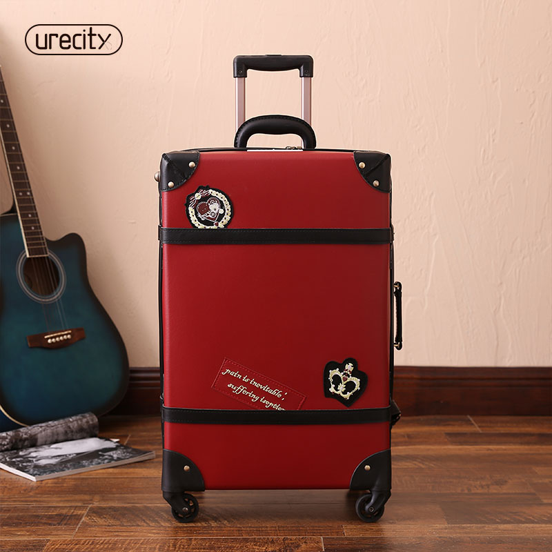 2018 NEW retro travel luggage england spinner suitcase big suitcase red pu pp material high quality free shipping2018 NEW retro travel luggage england spinner suitcase big suitcase red pu pp material high quality free shipping