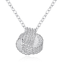 Fashion Thress Twisted Circle Pendant Necklaces Silver Colour Plated 925 Ball Charm Collar Gift for Ladies Party Jewelry