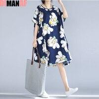 Plus Size Women Dress Floral Print Beach Dresses Summer Style Female Casual Vintage Large Size Fashion