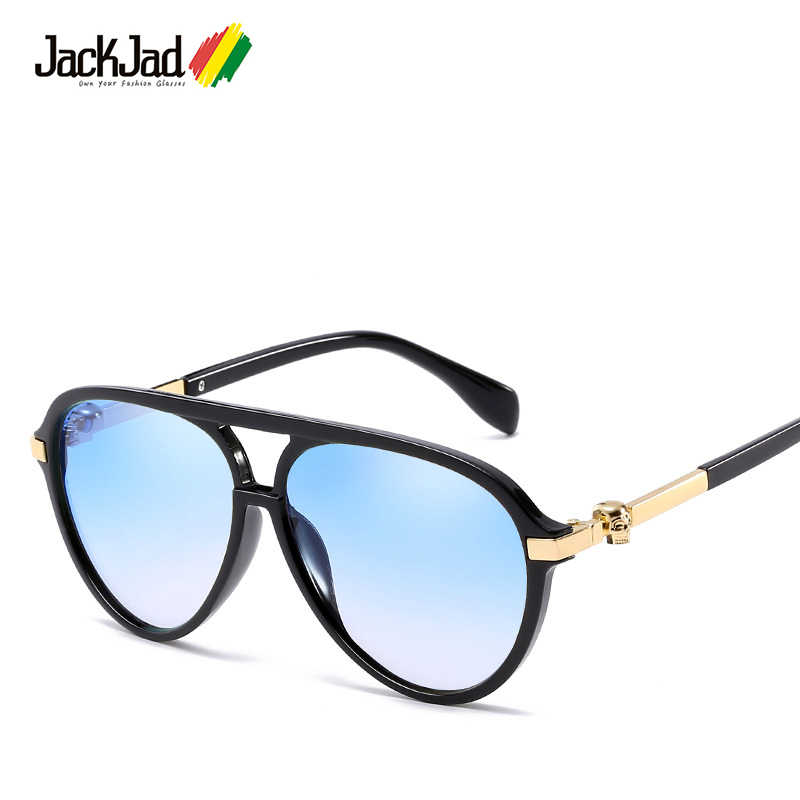 c6f52e588e2e JackJad Новая мода стиль авиации Прохладный Череп украшения Солнцезащитные  очки Винтаж градиент бренд дизайн солнцезащитные очки