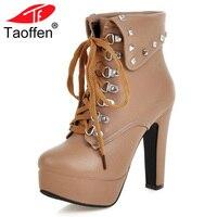 TAOFFEN Size 30 48 Women High Heel Cross Strap Boots Ladies Winter Warm Shoes Women Boots Round Toe Shoes Woman Rivets Footwear
