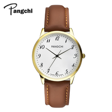 PANGCHI Classic Brown Leather Couple Watches Woman Casual Digital Big Dial Quart
