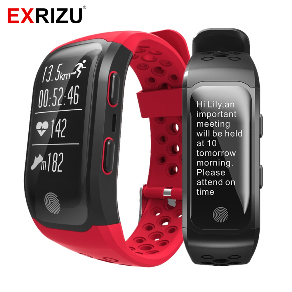 EXRIZU S908 Sport Smart Wristband IP68 Waterproof Wrist Band Heart Rate Monitor Call Reminder GPS Pedometer Fitness Bracelet