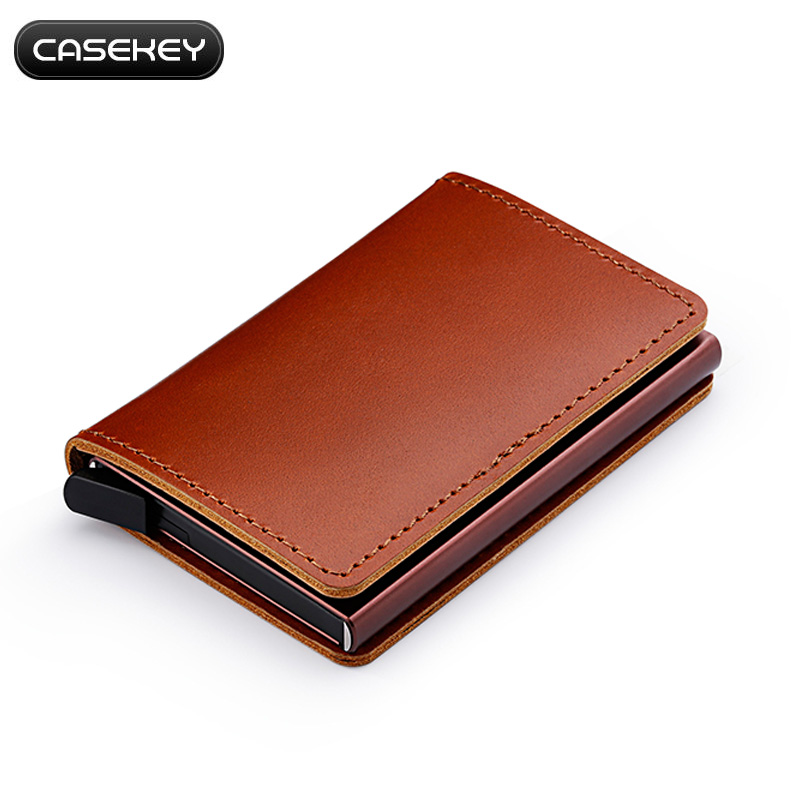 Casekey Genuine Wax Oil Leather Credit Card Holder Aluminum Wallet Stainless RFID Blocking Coin Purse for Business Men