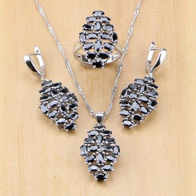 Hyperbole Black Cubic Zirconia 925 Sterling Silver Jewelry Set For Women Party E