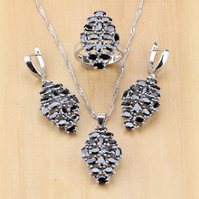цена Hyperbole Black Cubic Zirconia 925 Sterling Silver Jewelry Set For Women Party Earrings/Pendant/Necklace/Ring онлайн в 2017 году