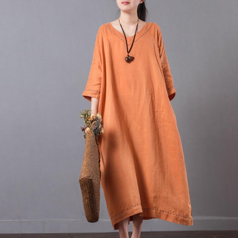 Hot Sale Plus Size Casual Summer Dresses Women Vintage Half Sleeve V