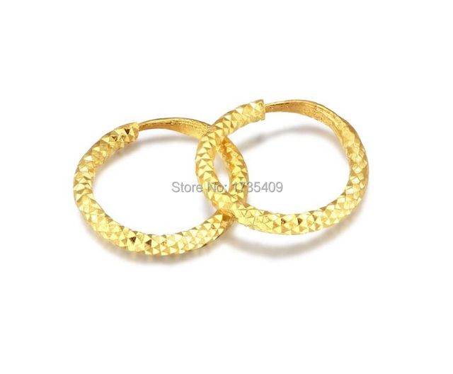 Pure Solid 24k Yellow Gold Earring Lucky Circle Hoop 1 95g