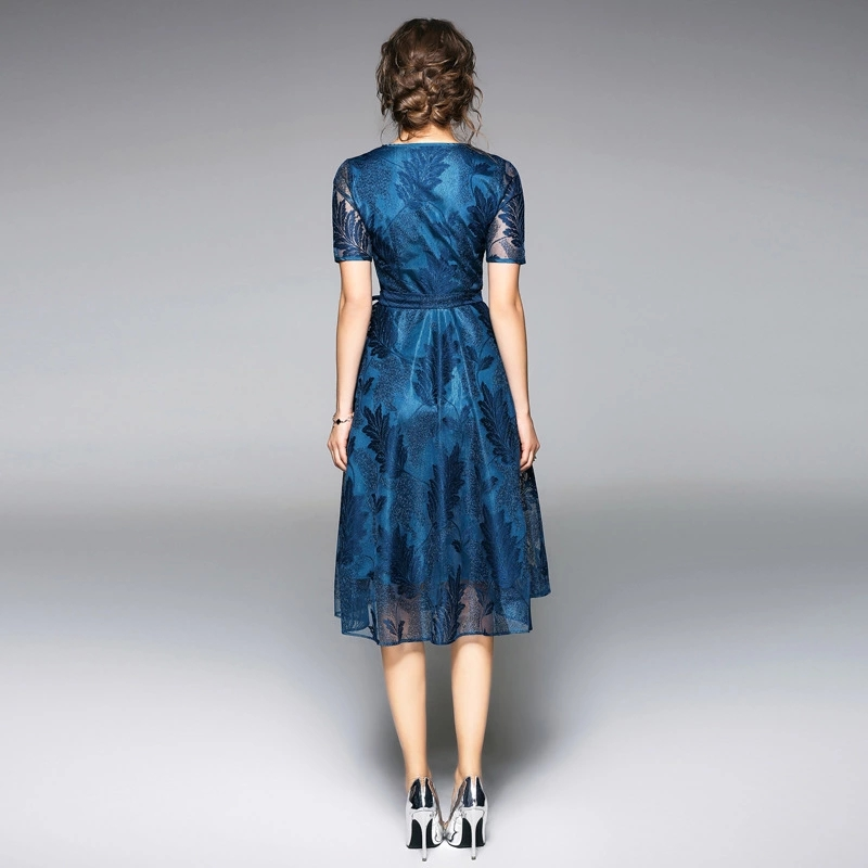 New Summer Womans Lace Dress V neck Female Casual A line Dresses Short Sleeve Solid Midi Dress Slim Knee length Dress Woman in Dresses from Women 39 s Clothing