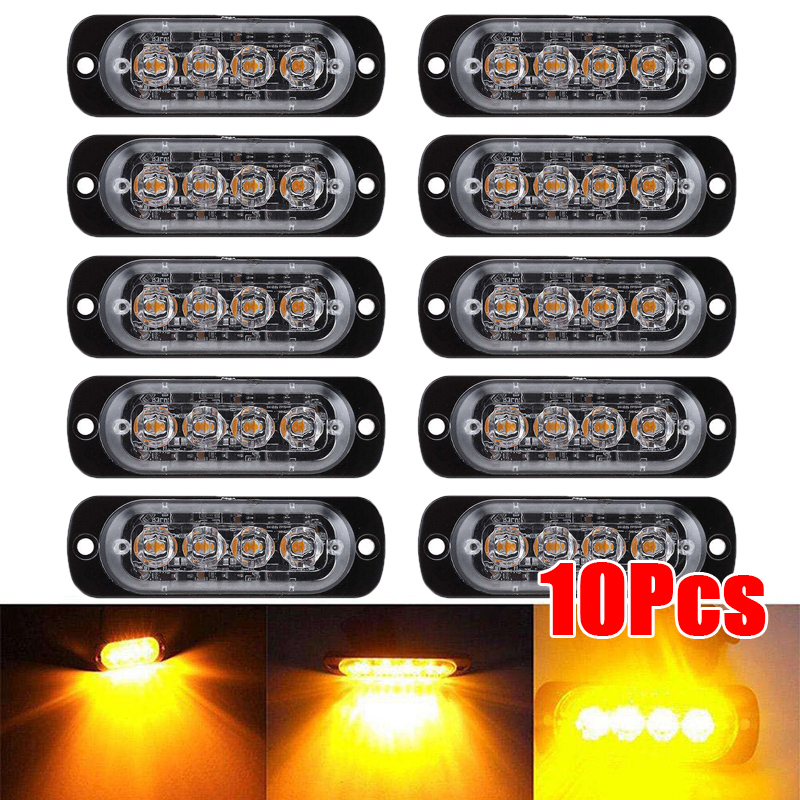10*12 24V 12W Amber 4 LED Car Truck Beacon Warning Hazard Flash Strobe Light Bar