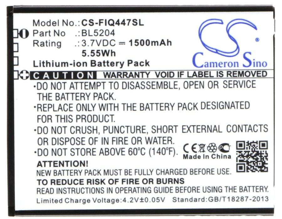 Cameron Sino 1500mAh Battery BL5204 for Fly ERA Life 1, IQ447