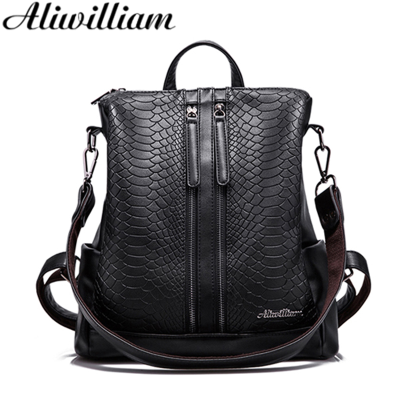 Women PU Leather Backpack Lady Serpentine Bag Korean Style Girls Backpack School Female Fashion Popular Hot Shoulder Bag AL175 yuanyu 2018 new hot free shipping python skin women handbag single shoulder bag inclined female bag serpentine women bag