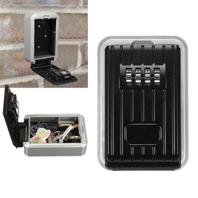 Safurance Key Safe Box Outdoor Key Lock Box Aluminium Wall Mounted Waterproof 4 Digit Combination Password
