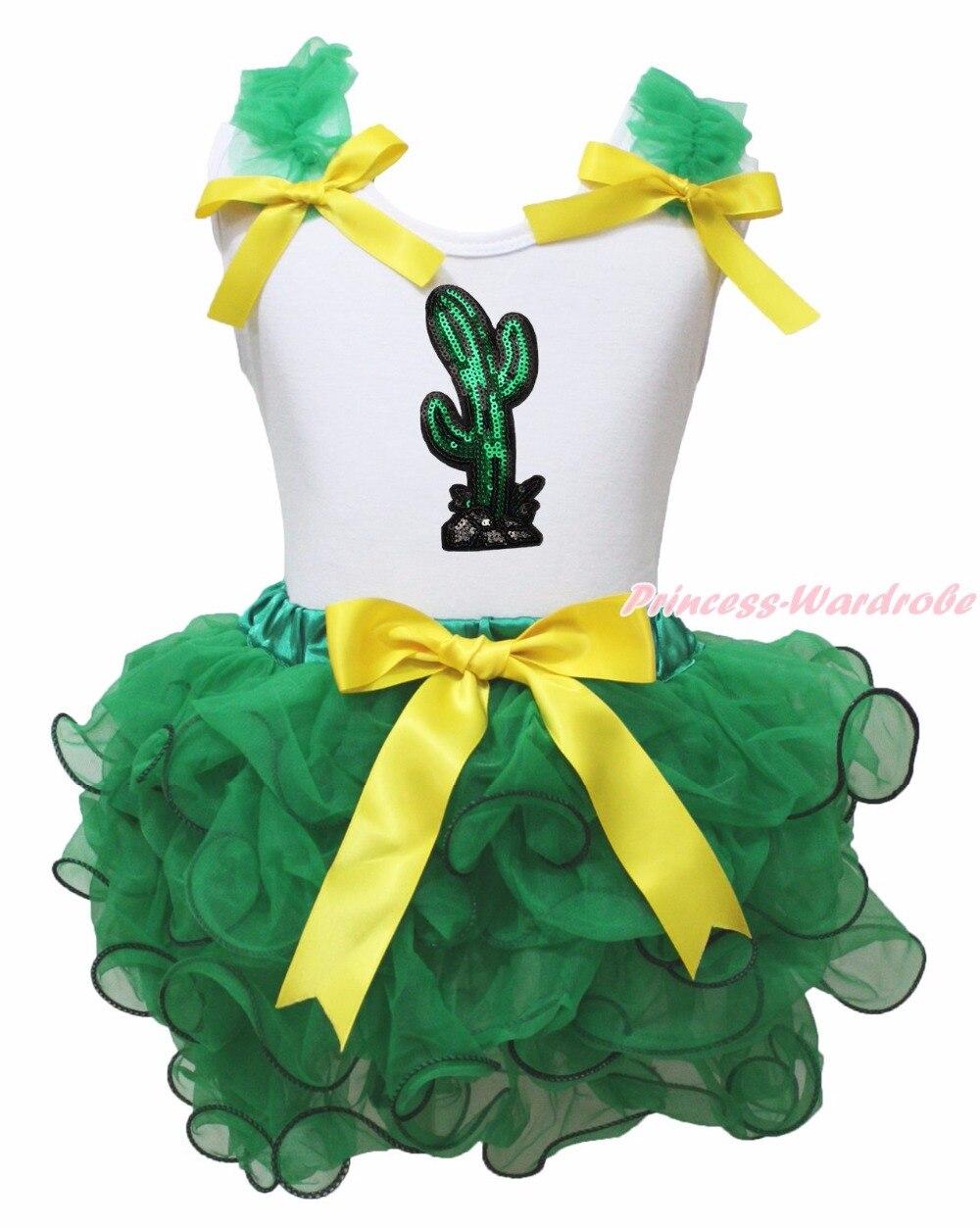 Mexico Cinco de Mayo Bling Cactus White Top Green Girls Petal Skirt Outfit NB-8Y emmanuel y mijares mexico