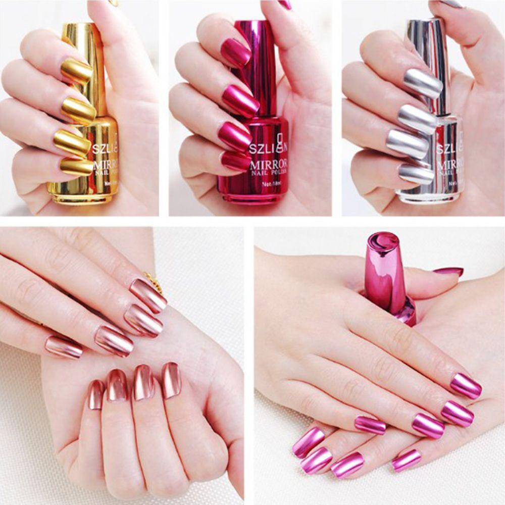 Mirror Nail Polish Metallic Lacquer Silver Nail Mirror Effect Metal Nail Gel Polish Nails Art Manicure