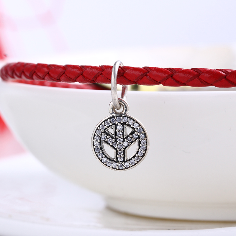 100% 925 Sterling Silver Fit Original Pandora Bracelet Sparkling peace pendant charm DIY Charm Beads for Jewelry Making