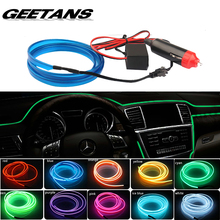 GEETANS Universal 5M 10 Colors Car Styling Flexible Neon Light EL Wire Rope Car Strip with Controller Auto Decoration Atmosph