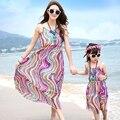Бесплатная Доставка Мать дочь платья мода лето дети Девушки Одеваются Семьи Костюмы радуга полосатый девушки женщин длинный жилет платье