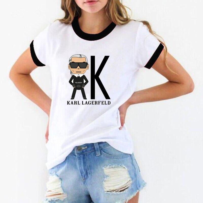 Vogue   t     shirt   women Unisex cotton Retro Short Sleeve Karl tshirt Lagerfeld print ulzzang clothing punk style kpop   t  -  shirt   femme