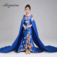 Синий вышивка китайский Cheongsam хвостохранилища детская шаль Presided над сцены Русалка Вечерние платья T этап модное шоу