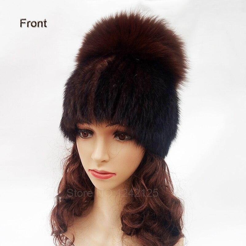 Nouveau hiver femmes fille dame tricoté vison fourrure chapeau élégance chaud rayé avec grand renard fourrure balle réel vison armure chapeaux bonnets