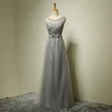 Scoop Neck Tulle Organza Long Bridesmaid Dress With Small Flowers 2017 Lace Up Party Dress Elegant