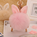 Hansel & Wang Fluffy Keychain Simulation Rabbit Ear Fur Ball Pom Pom Key Chain Women Bag Key Holder Fur Pompom Keychains Q06