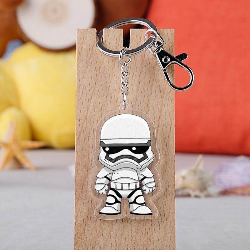 Hot Star War R2D2 Acrylic Twoside Print Keychain Darth Vader BB-8 Cartoon Figures Keyrings Portachiavi Children Toys