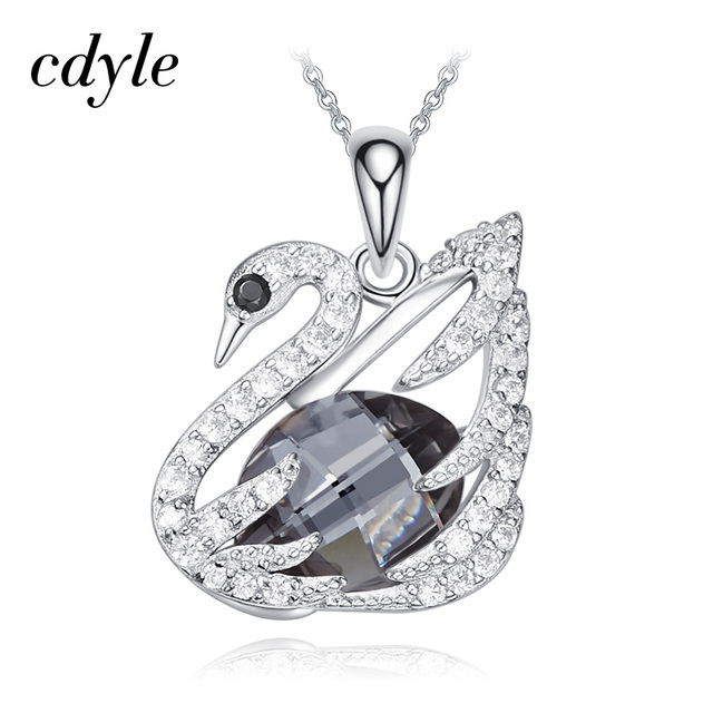 Cdyle Silver Night Crystals from Swarovski Noble Swan Pendant Necklace  Luxury Jewelry Gifts For Mom/